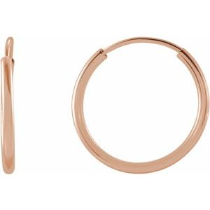 14K Rose 12 mm Flexible Endless Hoop Earrings - Siddiqui Jewelers