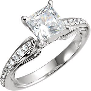 Continuum Sterling Silver 4.5x4.5 mm Square Cubic Zirconia & 1/5 CTW Diamond Engagement Ring