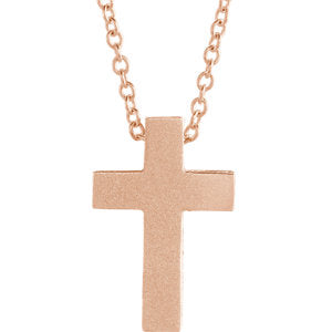 "14K Rose 13.5x9 mm Scroll Cross 16-18"" Necklace - Siddiqui Jewelers"
