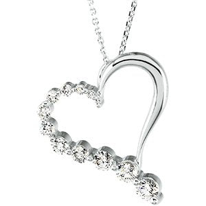 "14K White 1 CTW Diamond Journey Heart 18"" Necklace - Siddiqui Jewelers"