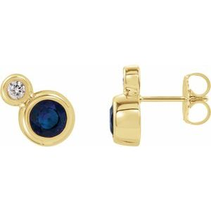 14K Yellow Blue Sapphire & .03 CTW Diamond Earrings