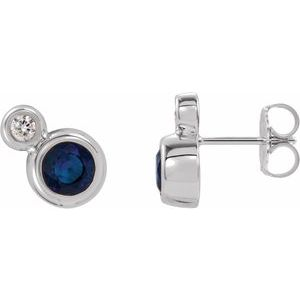 14K White Blue Sapphire & .03 CTW Diamond Earrings