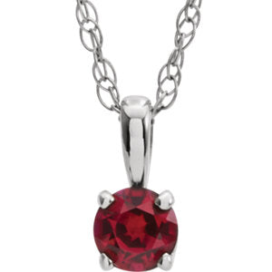 "14K White 3 mm Round July Chatham® Lab-Created Ruby Youth Birthstone 14"" Necklace - Siddiqui Jewelers"