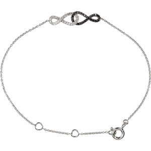 "1/5 CTW Black & White Diamond Infinity-Inspired 5.75 - 6.75"" Bracelet - Siddiqui Jewelers"