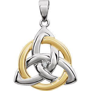 14K White & Yellow .004 CT Diamond Celtic-Inspired Trinity Pendant - Siddiqui Jewelers