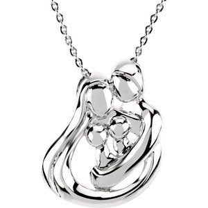 "Sterling Silver 2 Child Family 18"" Necklace"