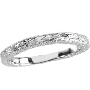 14K White Design-Engraved Band Size 6 - Siddiqui Jewelers