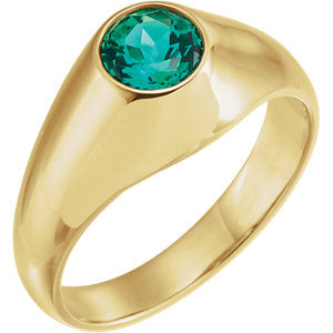 14K Yellow 6.5 mm Round Chatham® Created Emerald Ring - Siddiqui Jewelers