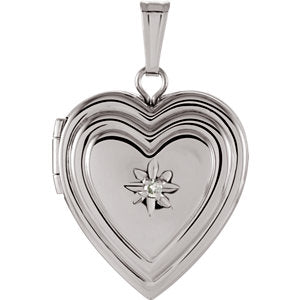 Sterling Silver 15 mm .010 CTW Diamond Heart Locket