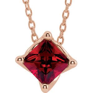 "14K Rose Chatham® Created Ruby Solitaire 16-18"" Necklace - Siddiqui Jewelers"