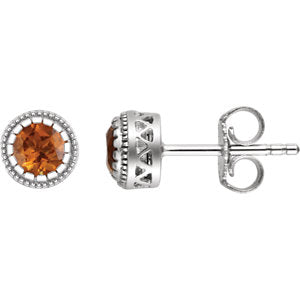 "14K White Citrine ""November"" Birthstone Earrings"