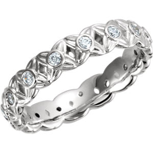 Platinum 3/8 CTW Diamond Sculptural-Inspired Eternity Band Size 5