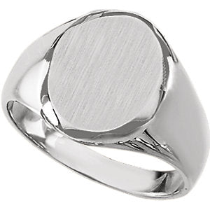 Sterling Silver 13x11 mm Oval Signet Ring