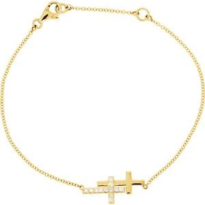 "14K Yellow 1/5 CTW Diamond Double Sideways Cross 8"" Bracelet - Siddiqui Jewelers"