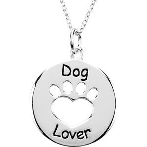 "Sterling Silver Heart U Back™ Dog Lover Paw 18"" Necklace"