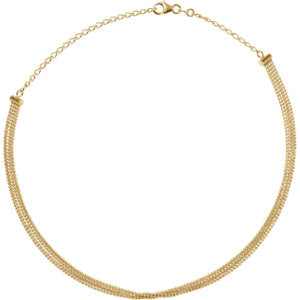 "14K Yellow 5-Strand Bead Chain 13-16"" Choker - Siddiqui Jewelers"