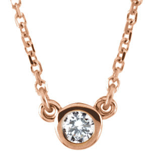 "14K Rose 1/10 CTW Diamond 18"" Necklace - Siddiqui Jewelers"