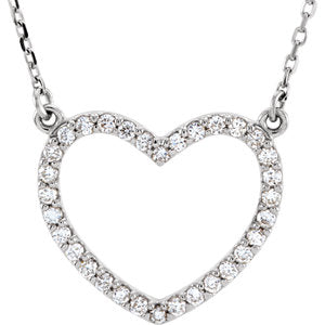 "14K White 1/4 CTW Diamond Small Heart 16"" Necklace - Siddiqui Jewelers"