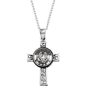 "Sterling Silver U.S. Army Cross 24"" Necklace - Siddiqui Jewelers"