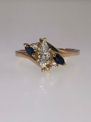 14K Yellow Gold Diamond and Sapphire Ring - Siddiqui Jewelers