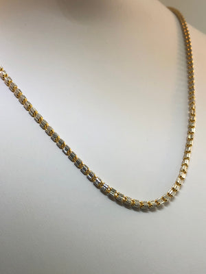 22K Two-tone Gold Necklace 20""