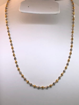22K Two-tone Gold Beaded Necklace 22""