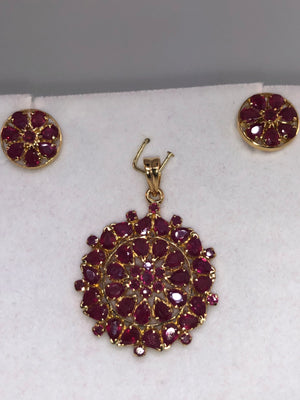 22K Yellow Gold and Ruby Pendant and Earring Set