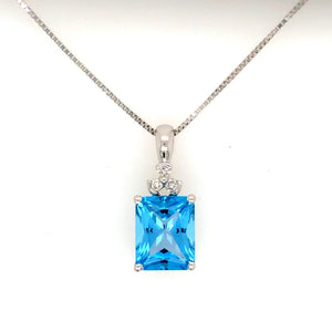 Blue Topaz and Diamond 14k White Gold Necklace - Siddiqui Jewelers
