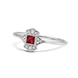 14K White Gold Ruby & Diamond Fashion Ring