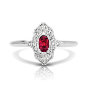 14K White Gold Ruby and Diamond Ring - Siddiqui Jewelers