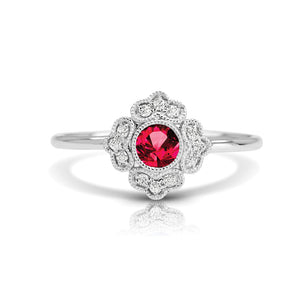 14K White Gold Ruby and Diamond Fashion Ring