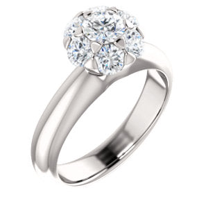 14K White 1/2 CTW Diamond Cluster Engagement Ring - Siddiqui Jewelers