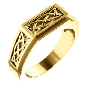 14K Yellow 8 mm Celtic-Inspired Ring - Siddiqui Jewelers