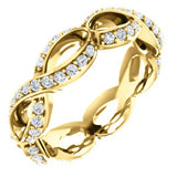18K Yellow 1/2 CTW Diamond Sculptural-Inspired Eternity Band Size 5.5