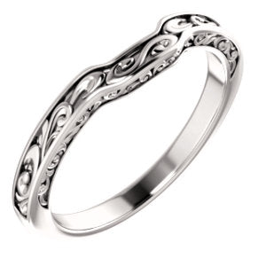 14K White Sculptural-Inspired Matching Band - Siddiqui Jewelers