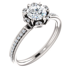 10K White 5.8 mm Round Cubic Zirconia & 1/8 CTW Diamond Engagement Ring - Siddiqui Jewelers