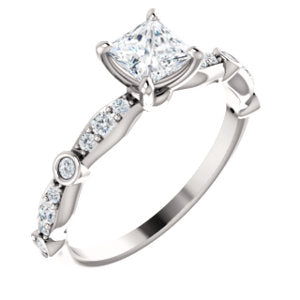 10K White 4.5x4.5 mm Square Cubic Zirconia & 1/5 CTW Diamond Engagement Ring - Siddiqui Jewelers