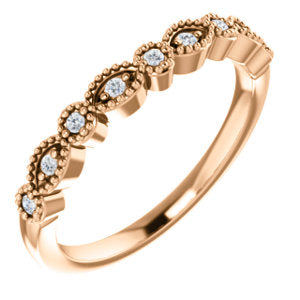 14K Rose .08 CTW Diamond Matching Band - Siddiqui Jewelers