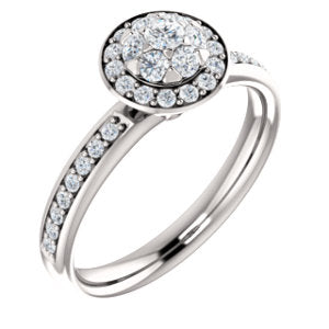 14K White 1/2 CTW Floral-Inspired Engagement Ring - Siddiqui Jewelers