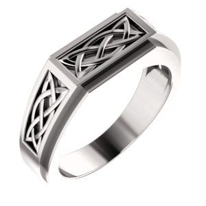 14K White 8 mm Celtic-Inspired Ring - Siddiqui Jewelers
