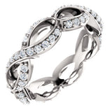 18K White 1/2 CTW Diamond Sculptural-Inspired Eternity Band Size 5.5 - Siddiqui Jewelers