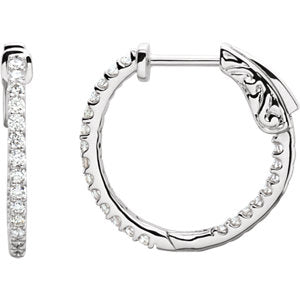 Platinum 1/2 CTW Diamond Inside-Outside 19 mm Hoop Earrings