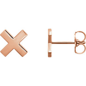"14K Rose ""X"" Earrings - Siddiqui Jewelers"