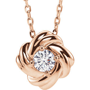 "14K Rose 1/6 CTW Diamond Knot 16-18"" Necklace - Siddiqui Jewelers"