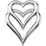14K White Double Heart Pendant Slide - Siddiqui Jewelers
