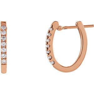 14K Rose 1/5 CTW Diamond Hoop Earrings