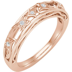 14K Rose .05 CTW Diamond Matching Band for 5.8 mm Round Engagement - Siddiqui Jewelers