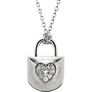 "Sterling Silver 1/10 CTW Diamond Heart Lock 18"" Necklace"