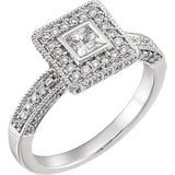 14K White 7/8 CTW Diamond Halo-Style Engagement Ring - Siddiqui Jewelers