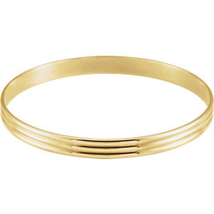 14K Yellow 6 mm Grooved Bangle Bracelet